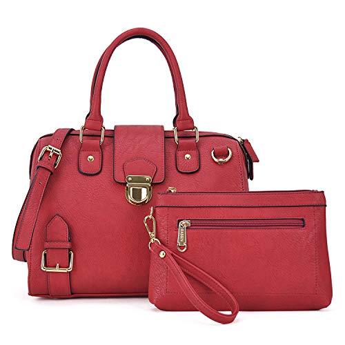 Handbags for Women Top Handle Shoulder Bags Satchel Tote 2 Pcs Purse Wallet Set Boston Bags(XL-07-6901-C-RD) ()
