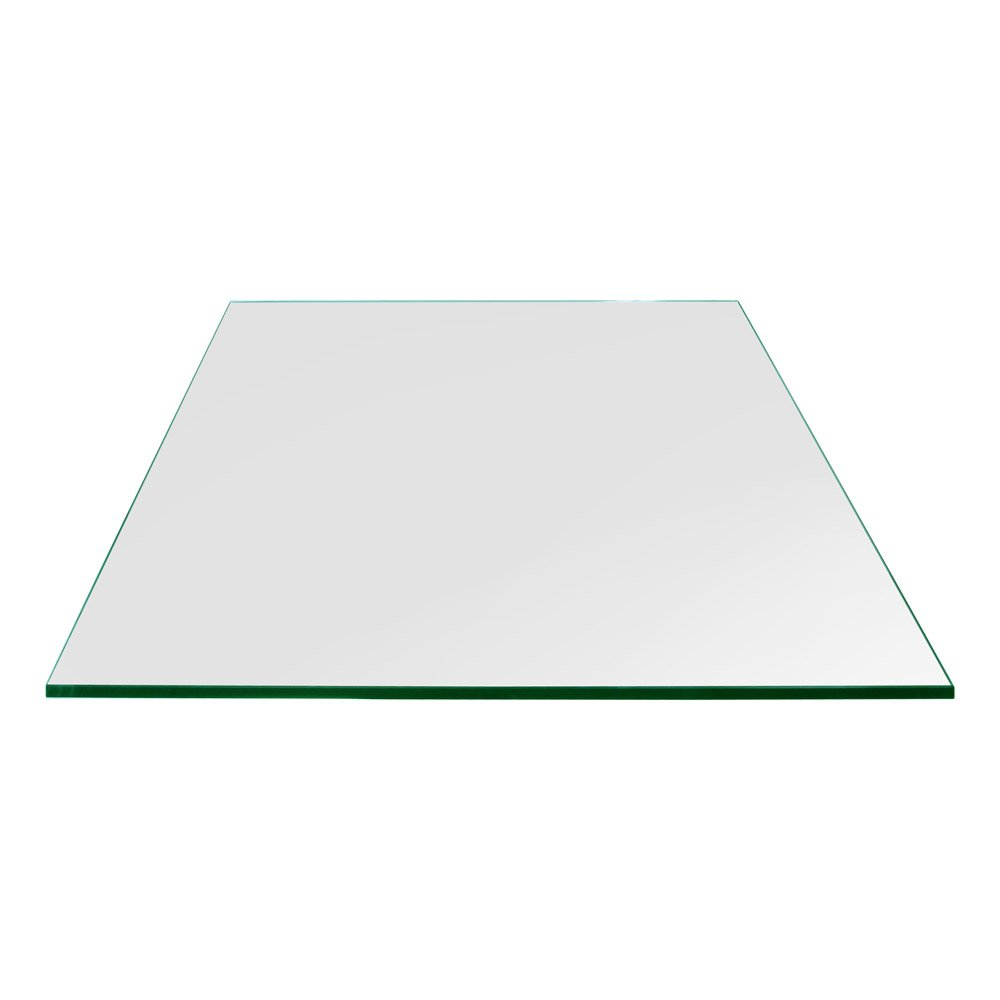 "TroySys High Strength Tempered Glass 1/4"" Thick (20"" x 20"") Square Glass Table Top with Flat Polish Eased Edge"