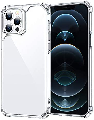 ESR Air Armor Series Case Compatible with iPhone 12 Pro Max 6.7-Inch [Shock Absorbing and Scratch Resistant] [Military Grade Protection] [Hard Back with Flexible Frame] – Clear