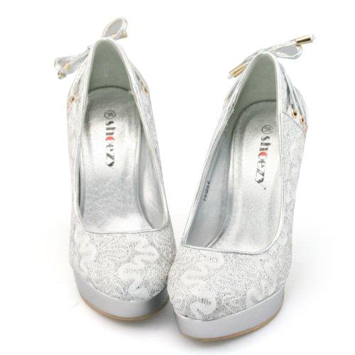 Shoezy Womens Silver Lace Glitter High Heels Platform Pumps Evening Party Shoes