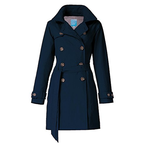 Happy Rainy Days Women's Classic Trench Coat With Removable Hood, Navy Blue , Large