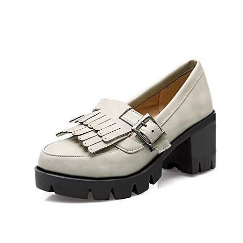 VogueZone009 Women's Buckle Kitten-Heels PU Solid Round Closed Toe Pumps-Shoes Gray DFwtKGMa