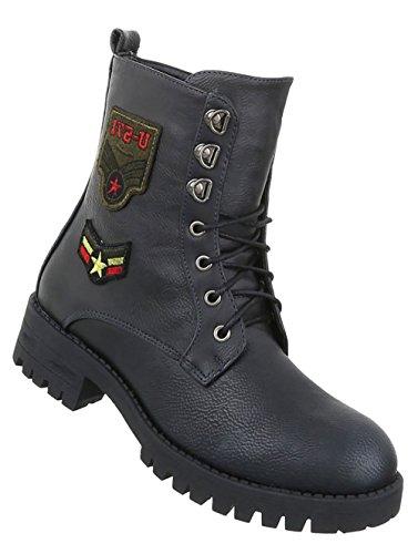Damen Schuhe Stiefeletten Schnür Boots Schwarz