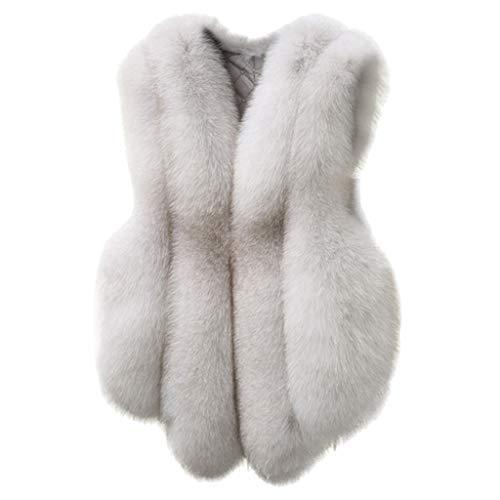 TOTAMALA Women Winter Slim Vest Jacket Gilet Outwear Warm Faux Fur Waistcoat Coat Vest (White S)