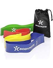 BODYMATE Fitnessbandenset met 4 sterktes en transporttas - 60 cm omtrek x 5 cm breedte - Gymnastiekbanden, band loops van natuurlatex - Weerstandsbanden voor functionele training
