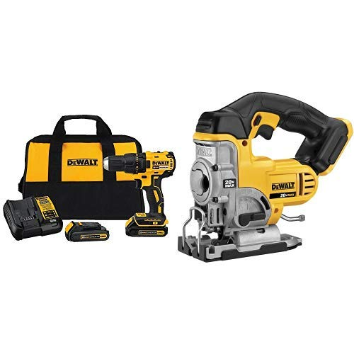 DEWALT DCD777C2 20V Max Lithium-Ion Brushless Compact Drill Driver with DCS331B 20-Volt MAX Li-Ion Jig Saw  (Tool Only) (20volt Dewalt Jig Saw)