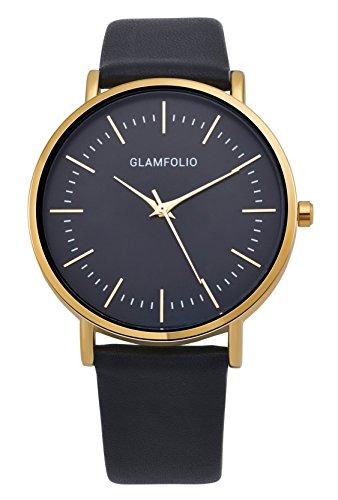 Glamfolio Herren Armbanduhr Gold-Tone Klassisch Quarz Leder Schwarz