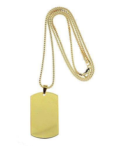 Gold Tone Jewelry Box - Plain Dog Tag Pendant 2mm Box Chain Necklace, Gold-Tone, 30