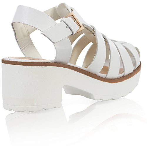 White CUT LADIES SHOES STRAP WOMENS Pu BLOCK HEEL OUT CHUNKY ANKLE GLADIATOR SANDALS aP5dqw