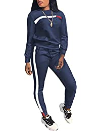 d792b2eaf60 Women Stripe Patchwork Two Piece Sweatsuit Round Neck Pullover and Skinny  Long Pants