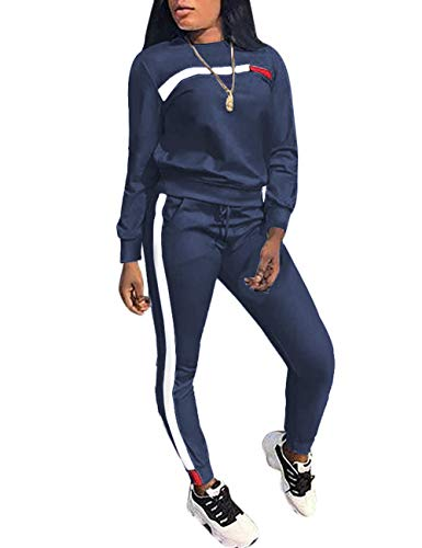 Womens Plus 3 Piece - KANSOON Women Stripe Patchwork Two Piece Sweatsuit Round Neck Pullover and Skinny Long Pants Blue XXXL