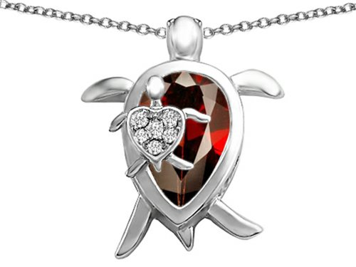 Garnet Family Pendant (Star K Mother and Baby Turtle family Pendant Necklace with 12x8mm Pear Shape Simulated Garnet Sterling)