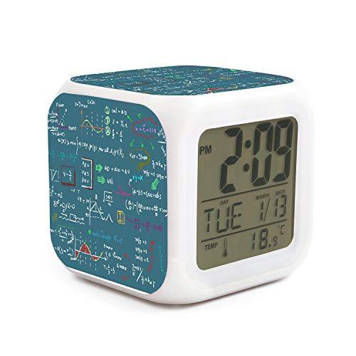 JWOJJUAW Wake Up Maths Physics Chemistry Green Backdrop Dimmer Snooze LED Nightlight Bedroom Desk Travel Digital Bell Alarm Clock for Kids Girls