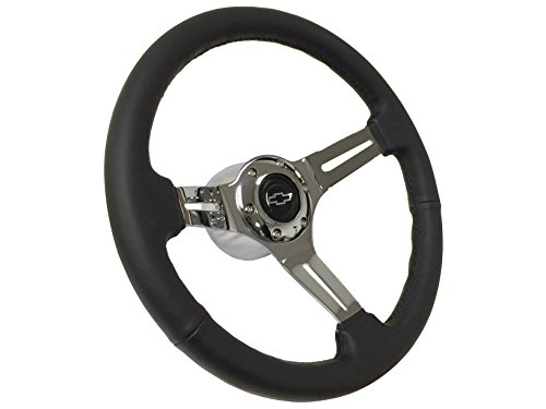 1969 - 1989 Silver Chevy Bow Tie Sport Leather Black Steering Wheel Kit, Hub Adapter, Chrome Button & Emblem / Fits Camaro Chevelle Impala El (Sport Muscle Wheels)