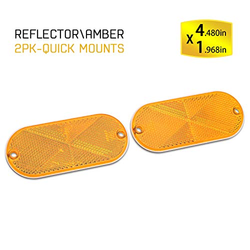 BSK 4.5'' Amber Stick-On Oval Reflectors,2 Pack ()