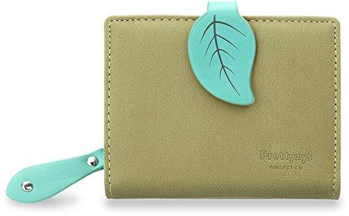 elegante Damen Portemonnaie zweifarbig mit Blatt - Motiv (grün) grün