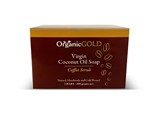 Natural and Organic Virgin Coconut Oil Soap and Body Scrub with Real Coffee Grains Is the Best Exfoliant for Fresh Clean Every Bath – for Healthy and Glowing Skin! (Pack of 2) from OrganicGOLD