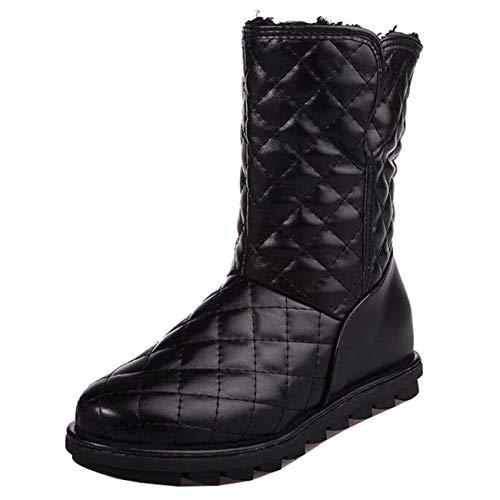 Stivali Dimensione Con Pelle Nero In colore Neve Uk Liscia Bianca Shoe Da Flat Arrotondata Donna A 5 Punta 586qR5zx