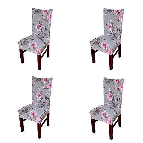 My Decor Super Fit Stretch Removable Washable Short Dining Chair Protect Cover Slipcover Style 07, 4 Pack (Chair Kitchen Table Slipcovers)