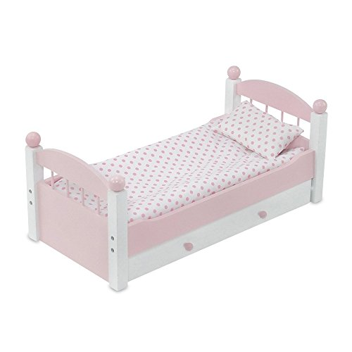 18 Inch Doll Furniture | Lovely Pink and White Stackable Trundle Bed, Includes Plush Polka Dot Bedding | Fits American Girl Dolls American Girl Trundle Bed