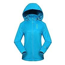 Diamond Candy Sportswear Women's Hooded Front-zipper Softshell Raincoat Waterproof Rain Jacket