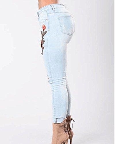 Jeans Ricamo Skinny Pantaloni Eleganti Denim Chiaro Jeggings Azzurro Jeans Strappati Donna fqT7WW1