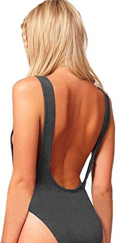 Womens Impreso * gris sin espalda Cut Out elástico Body de maillot de fiesta Bralet Top