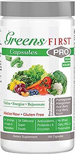 Greens First PRO-CAPSULES - Nutrient Rich-antioxidant Superfood, 49 Different Super Foods,phytonutrient & Antioxidant, Revitalize, Gluten Free, Vegan & Non-GMO - 180 Capsules 30 Servings