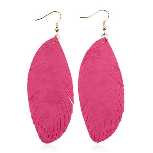 - Bohemian Genuine Suede Real Leather Drop Earrings - Lightweight Feather Shape Tassel Dangles Fringe Leaf, Angel Wing (Fringed Leaf - Fuchsia, 3.5)
