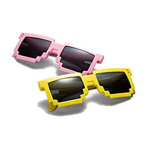 THE #1 Pixel Glasses on Amazon (2 PACK). 8-Bit Glasses for Parties/Festivals/Beach (Pixelated Sunglasses, Thug Life Glasses, Deal With It Glasses) (Pink Flamingo & Emoji Yellow)