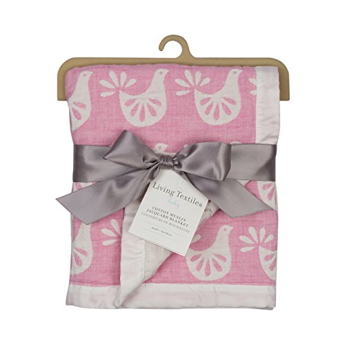 Living Textiles Muslin Jacquard Baby Blanket With Pink & White Birds. Double-Layered Muslin Jacquard 100% Cotton Blanket (40x30 inch)