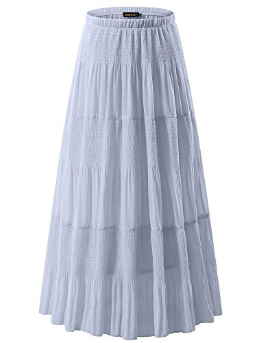 NASHALYLY Skirts for Women - Chiffon Elastic High Waist Pleated A-Line Flared Maxi Skirts(Light Gray, 3XL)
