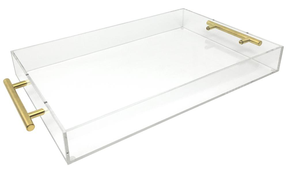 Isaac Jacobs Clear Acrylic Tray with Handle (11x14, Clear with Gold Handle)
