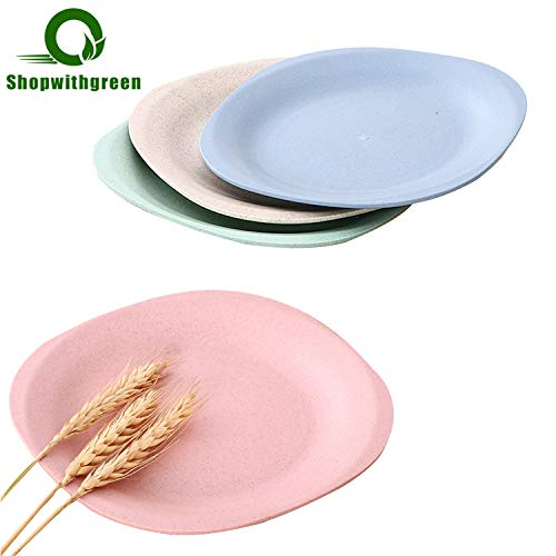 Wheat Straw Bread Butter Plates -Shopwithgreen 4 PCS 7.3 Inch Appetizer Dessert Plates - Lightweight & Unbreakable, Microwave & Dishwasher Safe