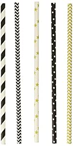 Charmed  Black/Gold New Year Hollywood Star Party Stripe/Chevron Straw Mix (125 Pack), Assorted