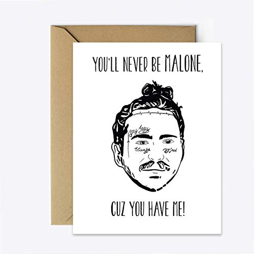 Post Malone Anniversary Card Birthday Funny Rap Greeting Card for her//him
