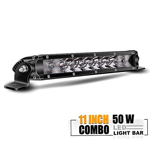 TURB0 SII 11 Inch Low Profile Single Row Led Light Bar Super Slim Driving Fog Offroad Front Bumper Light for ATV Side By Side Polaris Ranger RZR Jeep Rubicon Chevrolet Silverado Ford ( 50W )