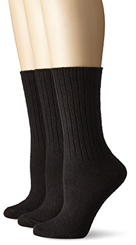 (No Nonsense Women's Essential Boot Sock 3-Pack, Black, One Size)