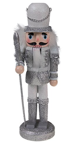 "Traditional Soldier Nutcracker by Clever Creations | Collectible Wooden Christmas Nutcracker | Festive Holiday Decor | Sparkling White and Silver Uniform | Holding Halberd Axe | 100% Wood | 9.5"" Tall (Figure Tall Caroler)"