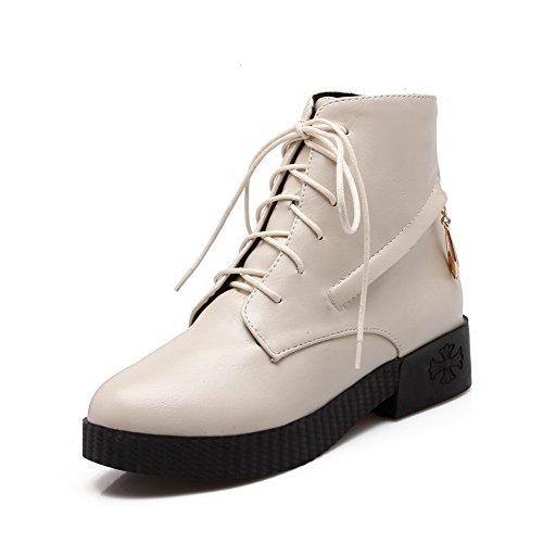 Allhqfashion Women's Round Closed Toe Low-top Low Heels Solid PU Boots Beige BHISh49HSv