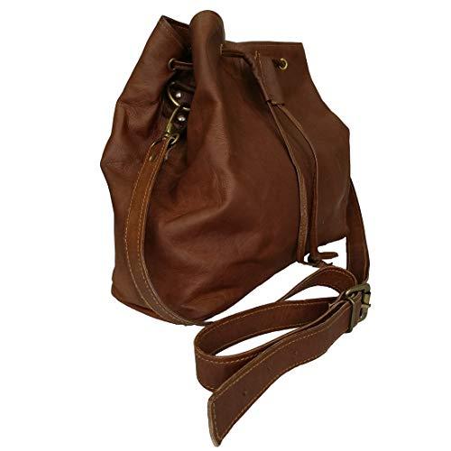 - Women's Vintage Genuine Goat Leather Bag Hobo Drawstring Ladies Shoulder Bucket Purse
