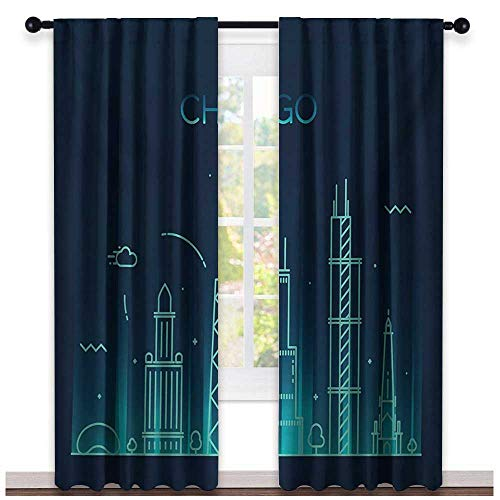 Genhequnan Chicago Skyline, Party Curtains Decorations, Blue American Town Panorama City Contemporary Illustration, Curtains Girls Bedroom, W84 x L84 Inch, Dark Blue and Turquoise -