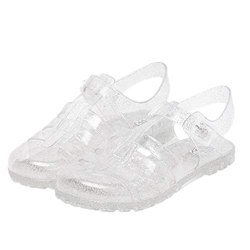 Yehopere Women's Jelly Sandals T-Strap Slingback Flats Clear Summer Beach Rain Shoes ()