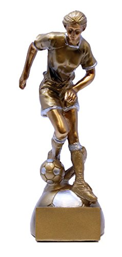 (Decade Awards ⚽ Soccer Goldstar Trophy - Female ⚽ Futbol Award | 8 Inch Tall - Free Engraved Plate on Request)