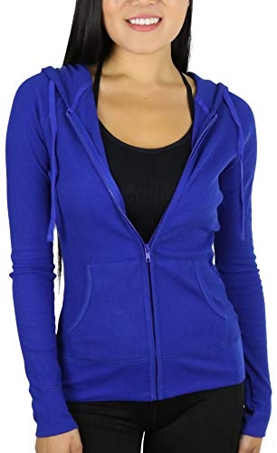ToBeInStyle Women's Long Sleeve Full Zip-Up Thermal Hoodie - Royal Blue - Medium