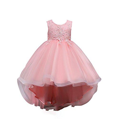 (OBEEII Little Big Girl Lace Flower High Low Tutu Dress Junior Bridesmaid Graduation Pageant Wedding Birthday Prom Gown)