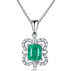 White Gold Natural Green Emerald Diamond Pendant