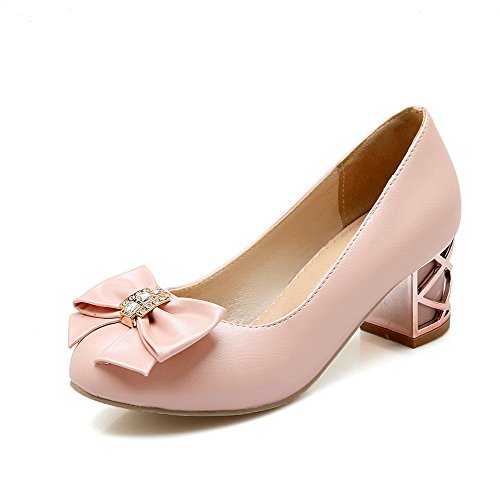 AllhqFashion Damen Rein PU Leder Mittler Absatz Rund Zehe Ziehen auf Pumps Schuhe Pink