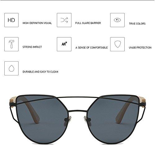Gama La Black Gafas De Gray Gafas Alta Sol De Gafas De Sol Ojo De Color Bambú Femeninos De Modelos De De Gafas Película Metal Sol Bambú De De De Gato fqUSw