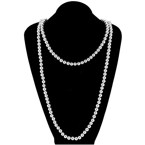 (Bohemian Simulated Pearl Long Strand Necklace for Women Girls Multilayer Faux Pearl Bead Chain Grey 55